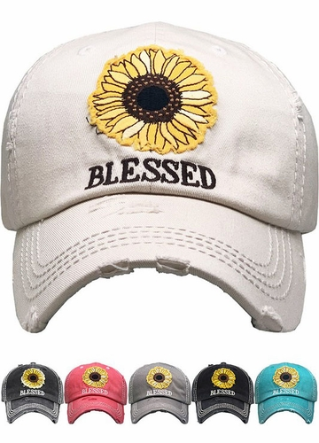 Blessed Sunflower Patch Washed Vintage Baseball Cap