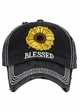 Blessed Sunflower Patch Washed Vintage Baseball Cap inset 1