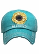 Blessed Sunflower Patch Washed Vintage Baseball Cap inset 2