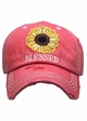 Blessed Sunflower Patch Washed Vintage Baseball Cap inset 3