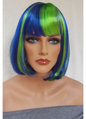 Blue and Green Bob Cindy Wig with Bangs (Seashell Blue)