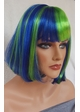 Blue and Green Bob Cindy Wig with Bangs (Seashell Blue)  inset 1
