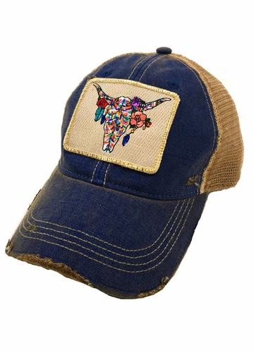 Boho Steer Skull Trucker Hat