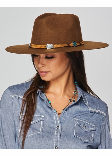 Brown Felt Hat with Jeweled Band