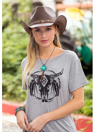 Brown Straw Hat with Star Conch