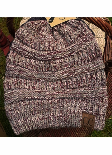 Dove Gray, Burgundy and Ivory Multi Knit CC Beanie Hat