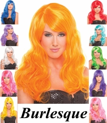 Burlesque- Long Curly Wig with Bangs