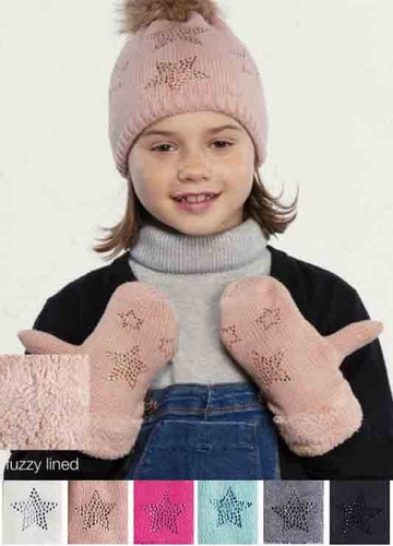 C.C Knit Mittens with Fur Cuff and Stars