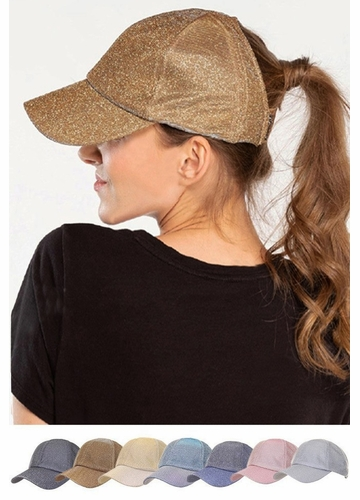 C.C Metallic Stretchy Big Pony Cap