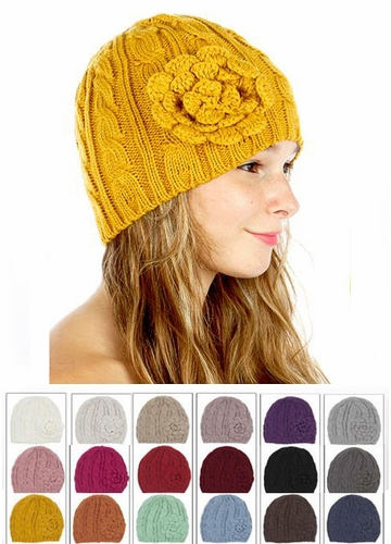 Cable Knit CC Beanie Hat with Crochet Flower