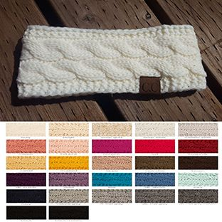 Cable Knit CC Brand Headband with Plush Lining