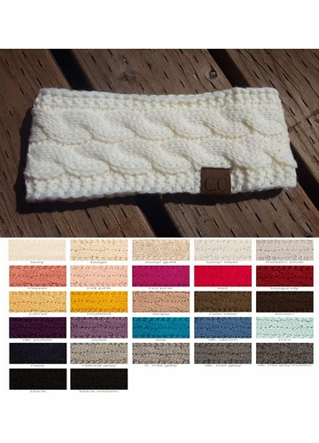 Cable Knit CC Headband with Plush Lining