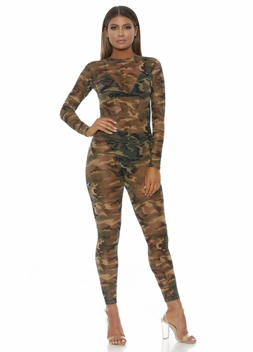Camo Mesh Catsuit with Long Sleeves