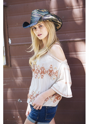 Camouflage Cowgirl Hat
