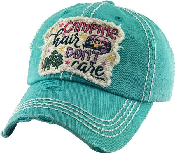Waldeal Camping Hair Don t Care Vintage/Embroidered Adjustable Dad Hat Baseball Cap