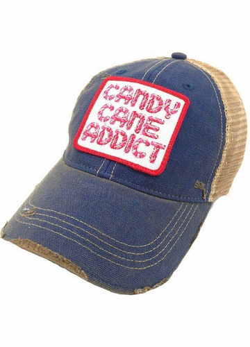 Candy Cane Addict Blue Baseball Hat