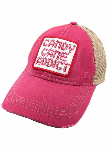 Candy Cane Addict Fuchsia Baseball Hat
