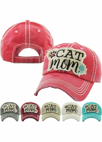 Cat Mom Vintage Wash Baseball Hat