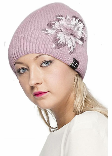 CC Angora Beanie with Sequin Flower