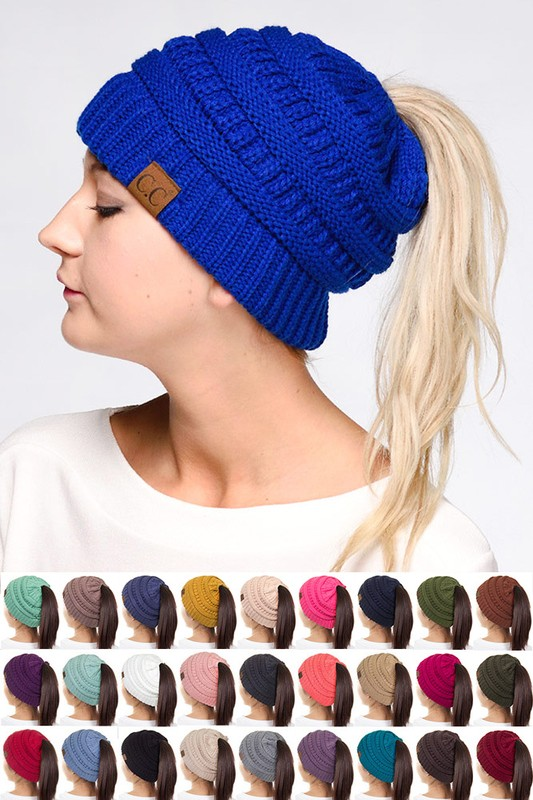 CC Beanie Hat with Open Ponytail dcbfe510f3f