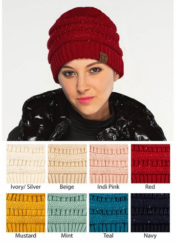 CC Beanie Hat with Sequins
