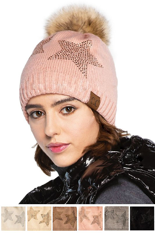 9bb0fa73d18d2c CC Beanie Hat with Stars and Pom