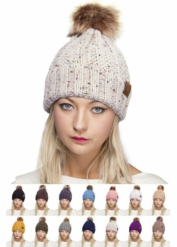 CC Beanie Hat with Warm Lining and Fur Pom Pom in Confetti