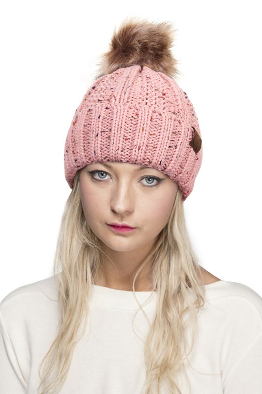 9b849409c22d6 ... CC Beanie Hat with Warm Lining and Fur Pom Pom in Confetti inset 3 ...