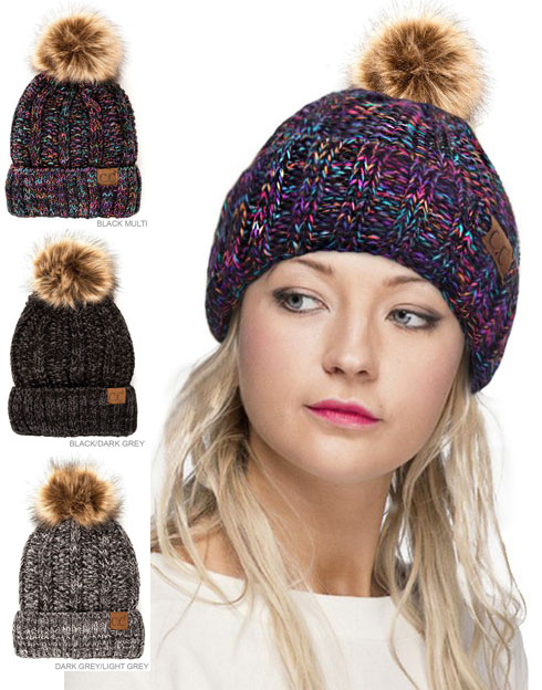 CC Beanie Hat with Warm Lining and Fur Pom Pom in Multi Color 51ce9c77d3c