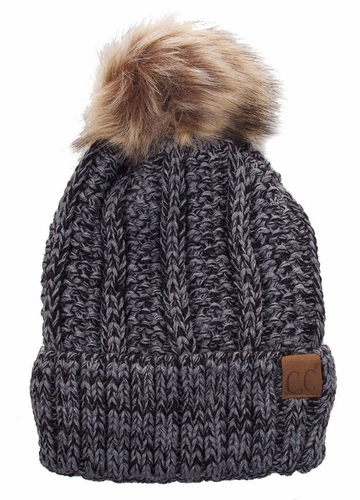 CC Beanie Hat with Warm Lining and Pom Pom in Multi Color