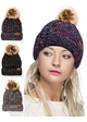 CC Beanie Hat with Warm Lining and Pom Pom in Multi Color inset 1