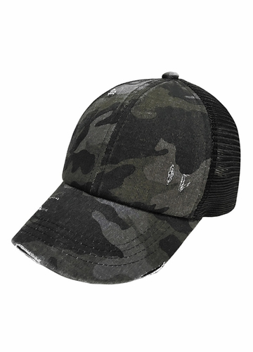 CC Black Camo Criss Cross Back Ponytail Baseball Hat