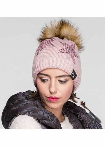 CC Black Label Crystal Stars Beanie with Fur Pom