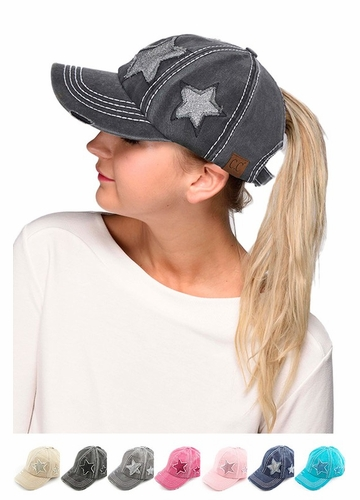 CC Brand Ponytail Baseball Hat with Stars