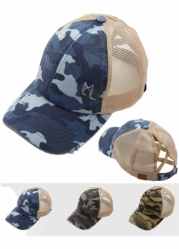CC Camo Criss Cross Back Ponytail Baseball Hat