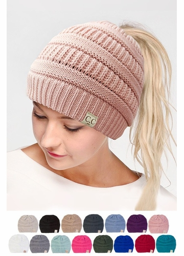 CC Cotton 365 BeanieTails Hat with Open Ponytail