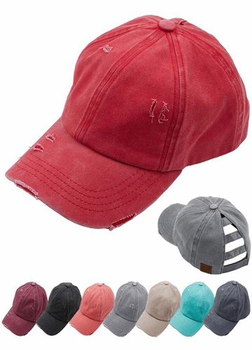 CC Cotton Ladder Back Ponytail Baseball Hat