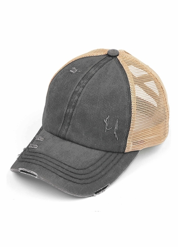 CC Cross Band Ponytail Trucker Hat in Charcoal/Beige