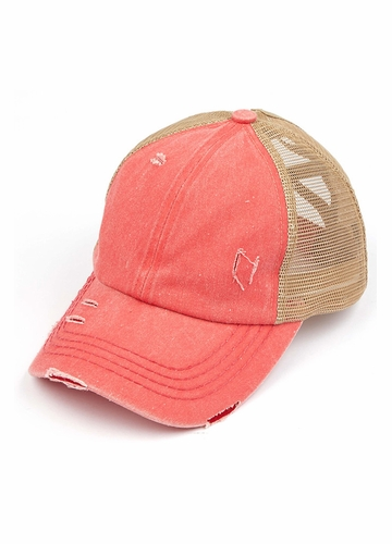 CC Cross Band Ponytail Trucker Hat in Coral