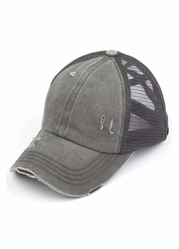 CC Cross Band Ponytail Trucker Hat in Gray