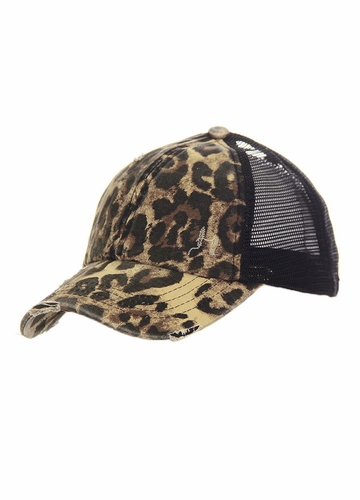 CC Cross Band Ponytail Trucker Hat in Leopard