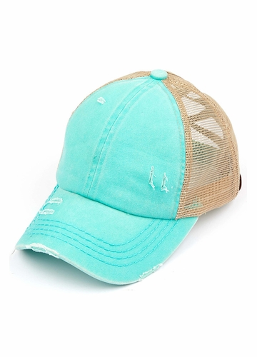 CC Cross Band Ponytail Trucker Hat in Mint