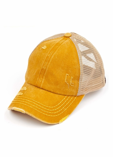 CC Cross Band Ponytail Trucker Hat in Mustard