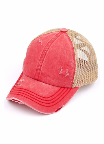 CC Cross Band Ponytail Trucker Hat in Red/Beige