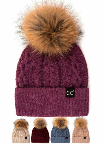 CC Exclusives Double Cable Beanie Hat with Fur Pom