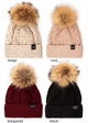 CC Exclusives Double Cable Beanie Hat with Fur Pom inset 2