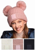 CC Double Pom Pom Beanie with Rubber Tab