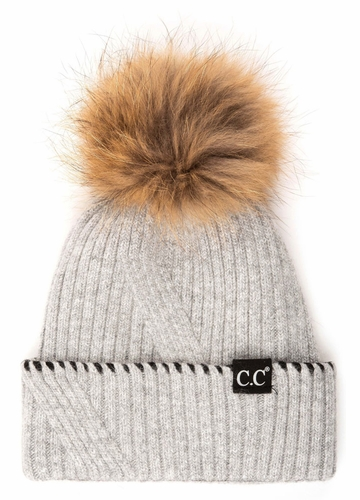 CC Exclusives Ribbed Knit Beanie with Fur Pom