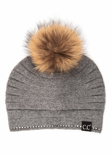CC Exclusives Ridged Beanie with Crystal Trim and Fur Pom