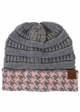 CC Knit Beanie with Hound-Tooth Cuff inset 3